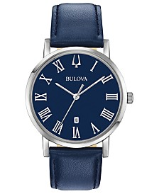 Bulova Men's American Clipper Navy Leather Strap Watch 40mm