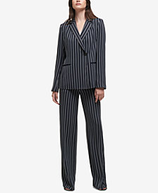 DKNY Striped Asymmetrical Blazer & Pants, Created for Macy's
