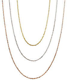 "14k Gold, 14k Rose Gold and 14k White Gold Necklaces, 16-24"" Faceted Chain"