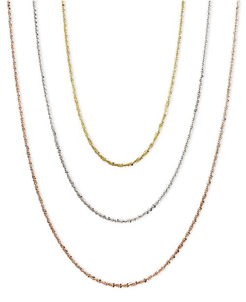 """Macy's 14k Gold, 14k Rose Gold and 14k White Gold Necklaces, 16-24"""" Faceted Chain"""