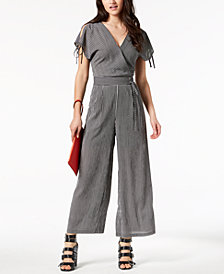 J.O.A. Striped Lace-Up Jumpsuit