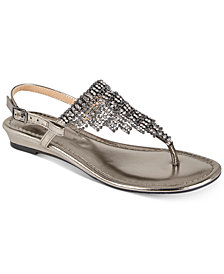 Thalia Sodi Ivorie Jewled Wedge Sandals, Created For Macy's