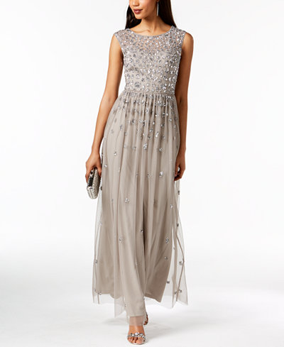 Adrianna Papell Sequined Illusion Gown