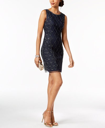 Adrianna Papell Geo-Beaded Sheath Dress