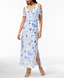 Nine West Floral-Print Cold-Shoulder Maxi Dress, Created for Macy's