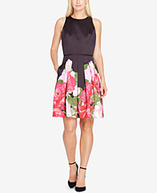 Tahari ASL Floral Satin Fit & Flare Dress