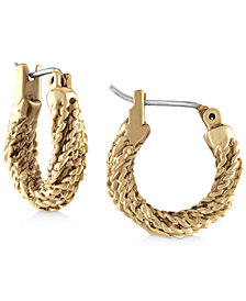RACHEL Rachel Roy Gold-Tone Rope Hoop Earrings