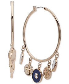 DKNY Gold-Tone Shaky Charm Hoop Earrings, Created for Macy's