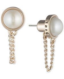 DKNY Gold-Tone Imitation Pearl & Chain Drop Front-Back Earrings, Created for Macy's