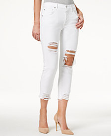 7 For All Mankind High Waist Josefina with Rips Skinny Boyfriend Jeans