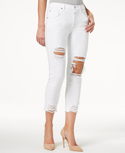 7 For All Mankind High Waist Josefina with Rips Skinny Boyfriend Jeans