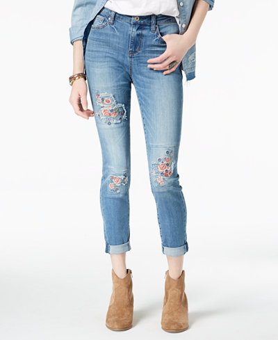 American Rag Juniors' Embroidered Skinny Jeans, Created for Macy's