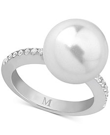 Marjorica Gold-Tone Imitation Pearl & Cubic Zirconia Statement Ring
