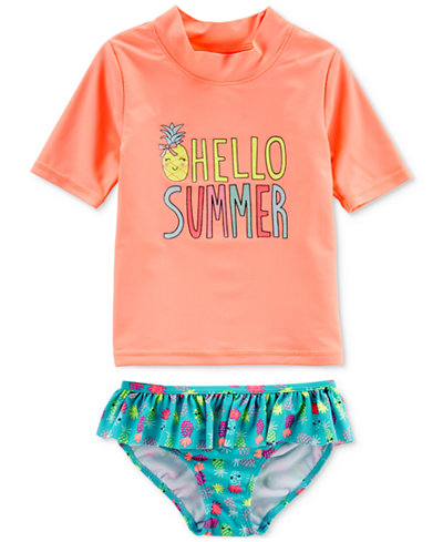 Carter's 2-Pc. Hello Summer Rash Guard Swimsuit, Little Girls & Big Girls