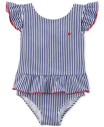 Carter's 1-Pc. Striped Ruffled Swimsuit, Toddler Girls