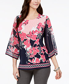 JM Collection Printed Embellished Top, Created for Macy's