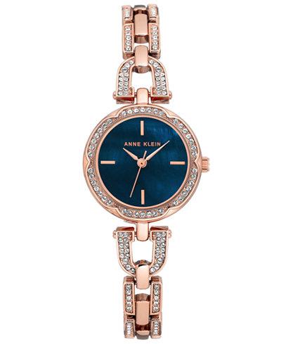 Anne Klein Women's Rose Gold-Tone Stainless Steel Bracelet Watch 20mm