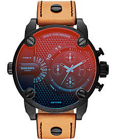 Diesel Men's Chronograph Little Daddy Brown Leather Strap Watch 52mm