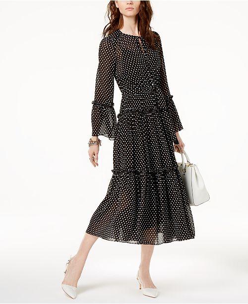 28ab2d557c9f35 Michael Kors Ruffled Polka-Dot Dress   Reviews - Dresses - Women ...