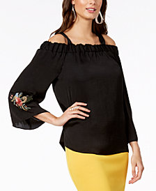 Thalia Sodi Off-The-Shoulder Embroidered-Sleeve Top, Created for Macy's