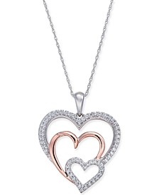 "Diamond Two-Tone Triple Heart 18"" Pendant Necklace (1/4 ct. t.w.) in 14k White & Rose Gold"