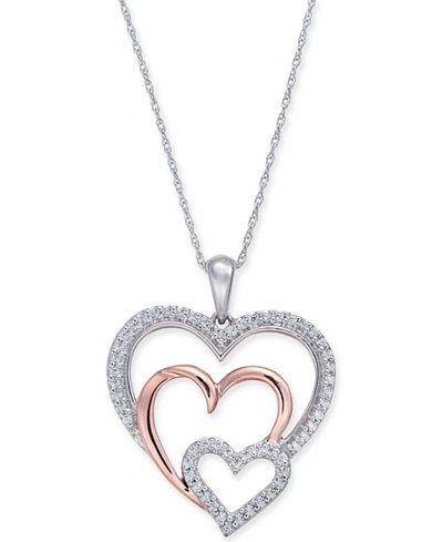 Diamond Two-Tone Triple Heart 18