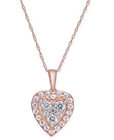 "Diamond Heart 18"" Pendant Necklace (1/2 ct. t.w.) in 14k Rose & White Gold"