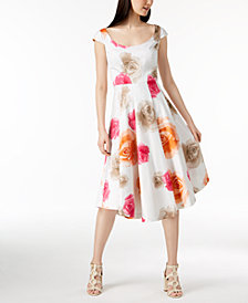 Calvin Klein Cotton Floral-Print Midi Dress