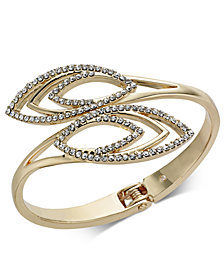 I.N.C. Gold-Tone Crystal Bypass Bangle Bracelet, Only at Macy's
