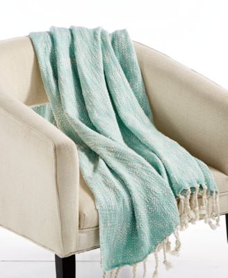 """LAST ACT! Tino Cotton Seafoam 50"""" x 60"""" Textured Throw, Created for Macy's"""