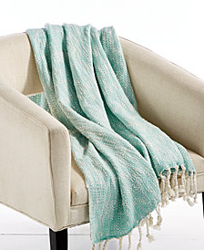 "LAST ACT! Lacourte Tino Cotton Seafoam 50"" x 60"" Textured Throw, Created for Macy's"