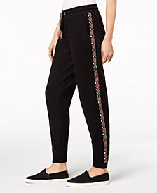 Style & Co Embroidered Knit Jogger Pants, Created for Macy's