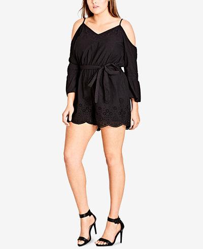 City Chic Trendy Plus Size Cotton Eyelet Romper