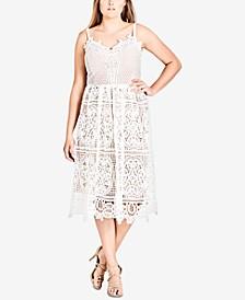Trendy Plus Size Mixed-Lace Dress
