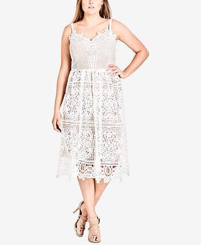 City Chic Trendy Plus Size Mixed-Lace Dress