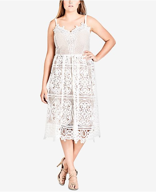 City Chic Trendy Plus Size Mixed-Lace Dress & Reviews ...