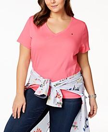 Plus Size Cotton V-Neck T-Shirt