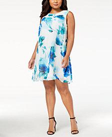 Calvin Klein Plus Size Printed Chiffon Trapeze Dress