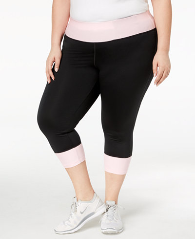 Ideology Plus Size Rapidry Colorblocked Cropped Leggings Created