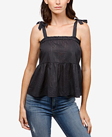 Lucky Brand Metallic Tie-Strap Top