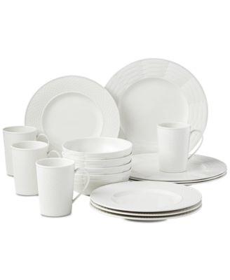 Entertain 365 Sculptured Mixed Round 16-Piece Dinnerware Set, Service for 4