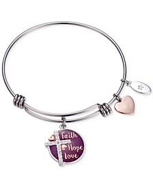"Purple Enamel ""Faith Hope Love"" Crystal Cross Charm Adjustable Bangle Bracelet in Two-Tone Stainless Steel with Silver Plated Charms"