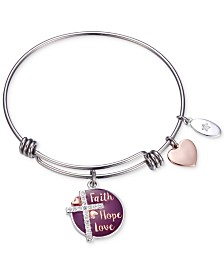 "Unwritten Purple Enamel ""Faith Hope Love"" Crystal Cross Charm Adjustable Bangle Bracelet in Two-Tone Stainless Steel"