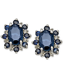 Sapphire (1-7/8 ct. t.w.) & Diamond Accent Stud Earrings in 14k White Gold