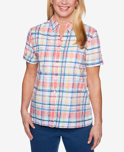 Alfred Dunner Sun City Short-Sleeve Mixed-Print Burnout Shirt