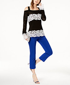 I.N.C. Lace Pointelle Sweater & Cropped Straight-Leg Pants, Created for Macy's