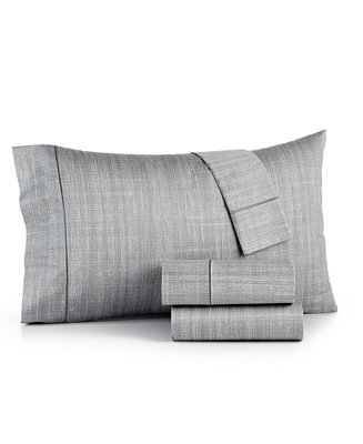 Modern Grid Cotton 525 Thread Count 4 Pc California King Sheet Set Created For Macy S Sheets Pillowcases Bed Bath
