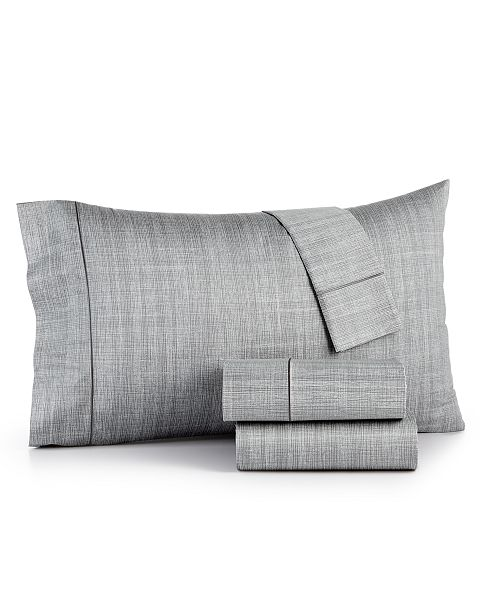 Hotel Collection CLOSEOUT! Modern Grid Cotton 525-Thread Count 4-Pc. California King Sheet Set, Created for Macy's