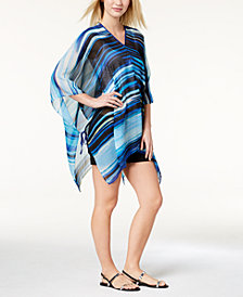 Calvin Klein Painterly Stripe Chiffon Cover-Up