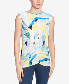 Catherine Catherine Malandrino Pleated Twist-Front Sleeveless Top